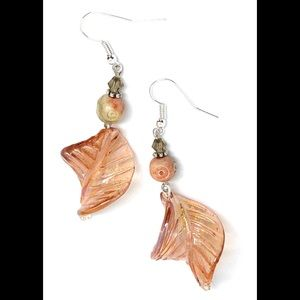 Blush Pink Glass Leaf and Amber Soapstone Earrings